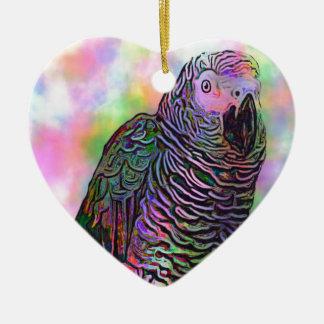 Loro psicodélico adorno de cerámica en forma de corazón