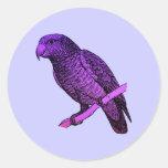 Loro púrpura pegatina redonda
