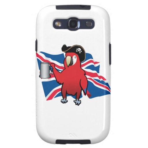 Loro rojo del pirata y Union Jack Samsung Galaxy S3 Funda