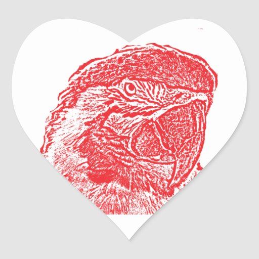 loro rojo gráfico del esquema de la opinión pegatina en forma de corazón