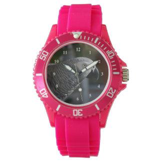 Loro sereno del gris africano reloj de mano