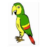 Loro simple del dibujo animado con amarillo y verd plantilla de tarjeta de negocio