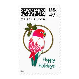 Loro tropical del navidad con acebo timbres postales