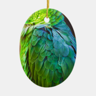 Loro verde adorno ovalado de cerámica