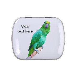 Loro verde del Macaw en un texto del personalizabl Latas De Dulces