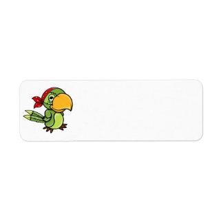 Loro verde del pirata del dibujo animado etiquetas de remite