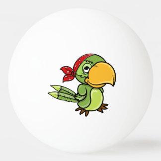 Loro verde del pirata del dibujo animado pelota de ping pong