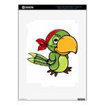 Loro verde del pirata del dibujo animado iPad 3 pegatinas skins
