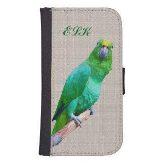 Loro verde en un miembro, monograma del Macaw Funda Billetera Para Teléfono