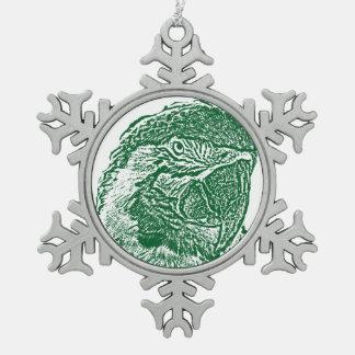 loro verde gráfico del esquema de la opinión adorno de peltre en forma de copo de nieve