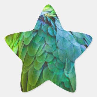 Loro verde pegatina en forma de estrella