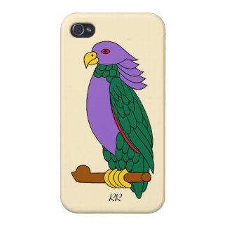 Loro verde púrpura iPhone 4/4S carcasa