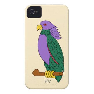 Loro verde púrpura iPhone 4 Case-Mate cárcasas