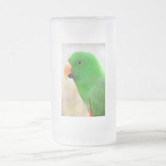 Loro verde taza de cristal