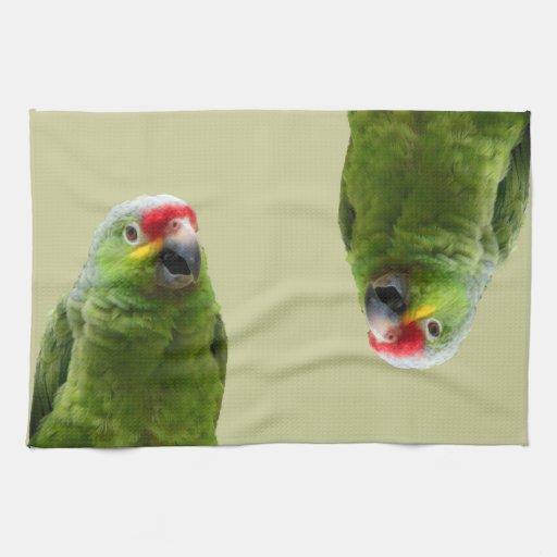 Loro verde toallas de mano