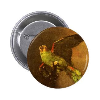 Loro verde, Vincent van Gogh, todavía del vintage Pin Redondo 5 Cm