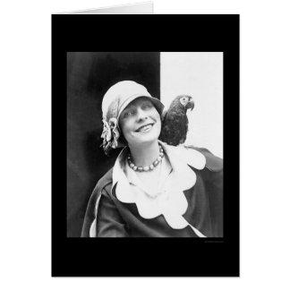 Loro y señora feliz 1924 tarjetas