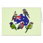 Loros australianos tarjeta de felicitación
