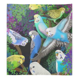 Loros coloridos del Budgerigar en pañuelo de los Bandanas