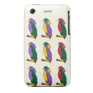 Loros coloridos lindos Case-Mate iPhone 3 cárcasas