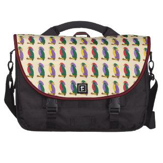 Loros coloridos rojo y verde amarillos púrpuras te bolsas para portatil