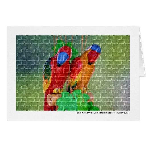 Loros de la pared de ladrillo felicitacion