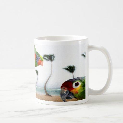 Loros de la playa taza de café
