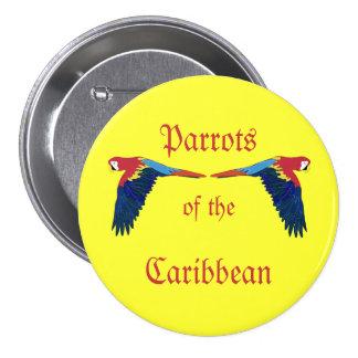 Loros del Caribe en amarillo Pin Redondo 7 Cm