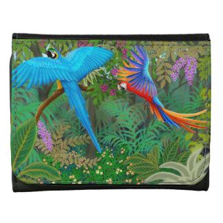 Loros del Macaw en cartera del cuero de la selva