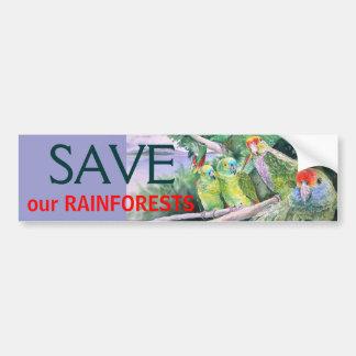 Loros en peligro de la selva tropical atlántica etiqueta de parachoque