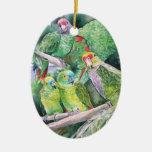 Loros en peligro de la selva tropical atlántica de ornamentos para reyes magos