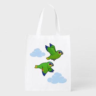 loros Naranja-cons alas en vuelo Bolsa Para La Compra