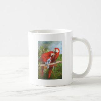 Loros que comparten secretos tazas de café