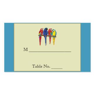 Loros tropicales que casan tarjetas del lugar plantilla de tarjeta de visita