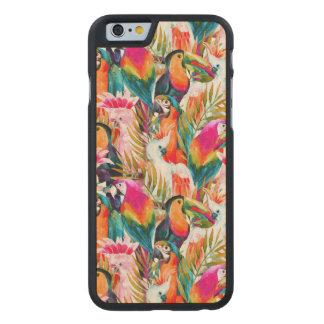 Loros y hojas de palma funda de iPhone 6 carved® slim de arce