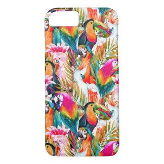 Loros y hojas de palma funda iPhone 7