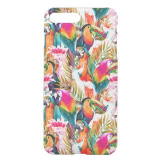 Loros y hojas de palma fundas para iPhone 7 plus