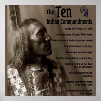 Los 10 mandamientos indios póster