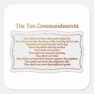 Los 10 mandamientos pegatina cuadrada