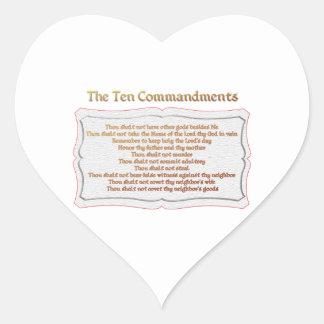 Los 10 mandamientos pegatina en forma de corazón