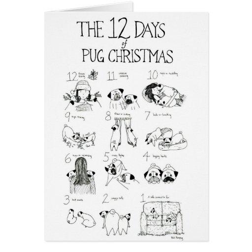 Los 12 días de navidad del barro amasado tarjeta de felicitación