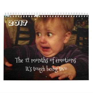 Los 12 meses de los problemas del emoción-niño. calendario de pared