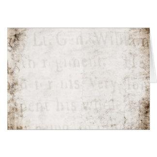 Los 1700s del vintage broncean el espacio en blanc tarjeta pequeña