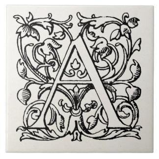 Los 1800s del vintage ponen letras a un monograma  azulejo ceramica