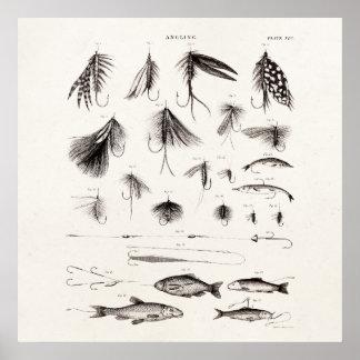 Los 1800s del vintage que pescan la pesca con mosc impresiones