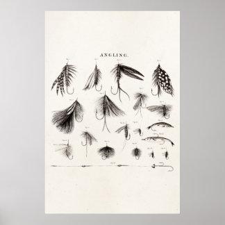 Los 1800s del vintage que pescan la pesca con mosc poster