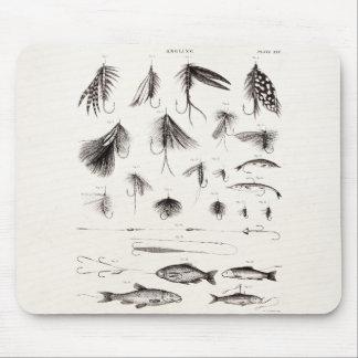 Los 1800s del vintage que pescan la pesca con mosc tapetes de raton