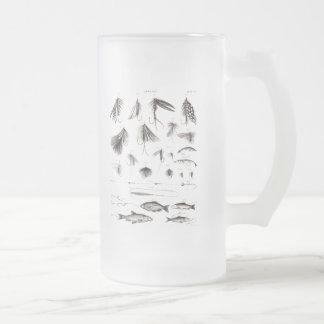 Los 1800s del vintage que pescan la pesca con mosc tazas de café