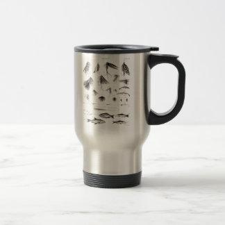 Los 1800s del vintage que pescan la pesca con mosc taza de café