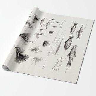 Los 1800s del vintage que pescan la pesca con papel de regalo